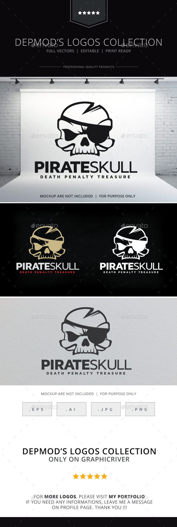 Pirate Skull Logo - Objects Logo Templates
