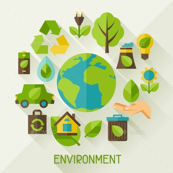 Ecology Background with Environment Icons - Nature Conceptual