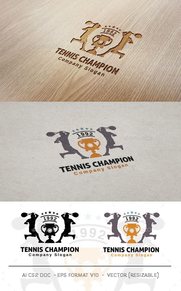 Tennis Champion Logo - Humans Logo Templates