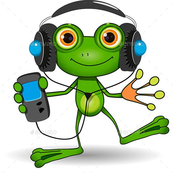 Frog in Headphones - Animals Characters