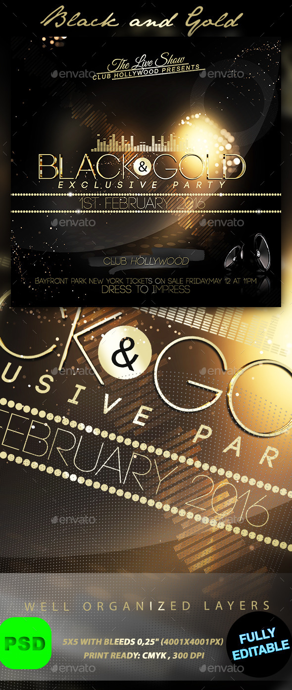 Black and Gold Flyer - Events Flyers
