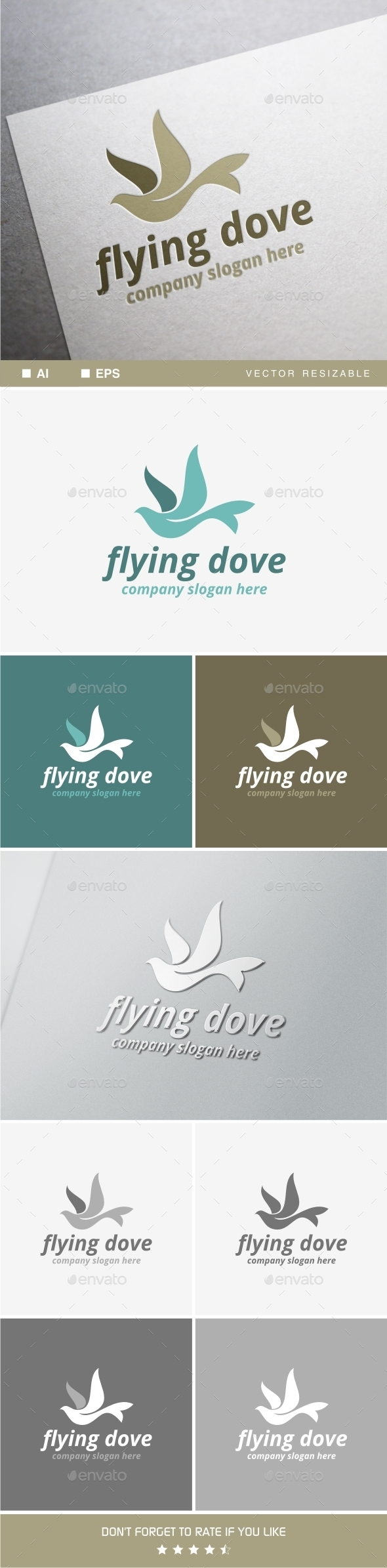 Flying Dove - Animals Logo Templates