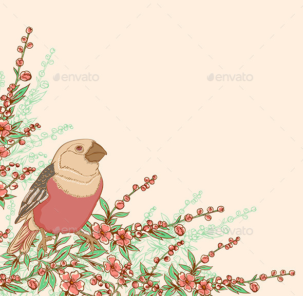 Bird and Flowering Branch - Animals Characters