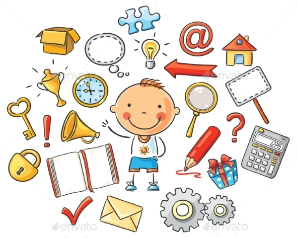 Cartoon Child with Symbols - People Characters