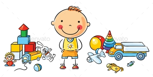 Little Cartoon Boy with Toys - People Characters