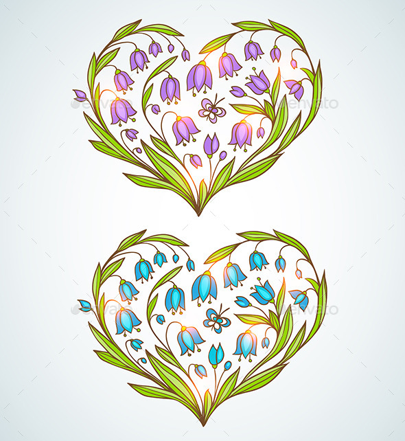 Blue and Violet Floral Hearts - Valentines Seasons/Holidays