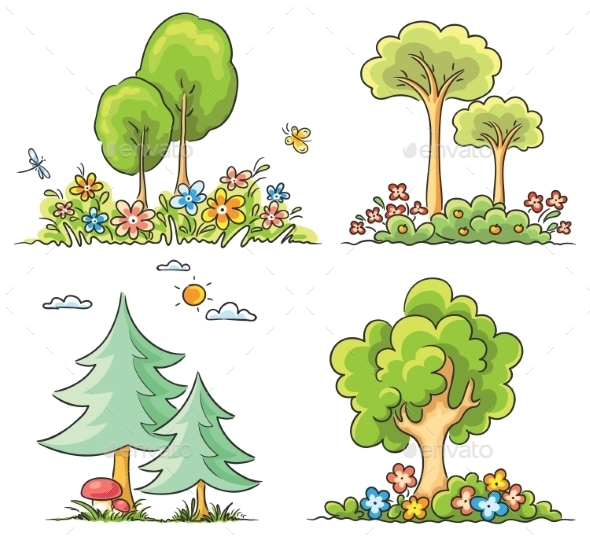 Cartoon Trees with Flowers - Flowers & Plants Nature
