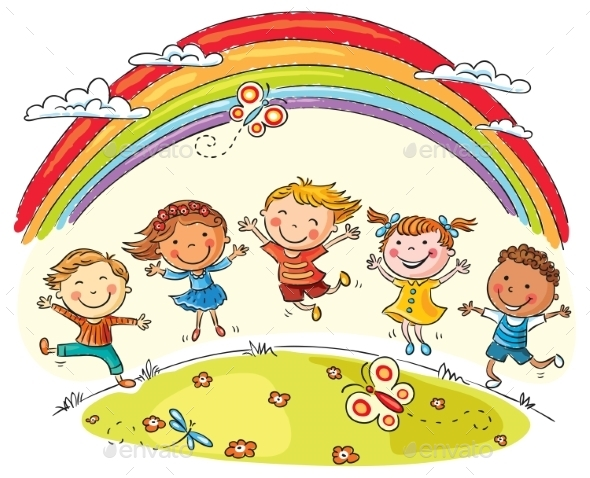 Kids Jumping with Joy Under Rainbow - People Characters
