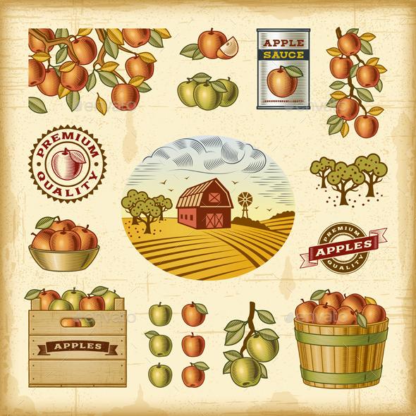 Vintage Colorful Apple Harvest Set - Food Objects