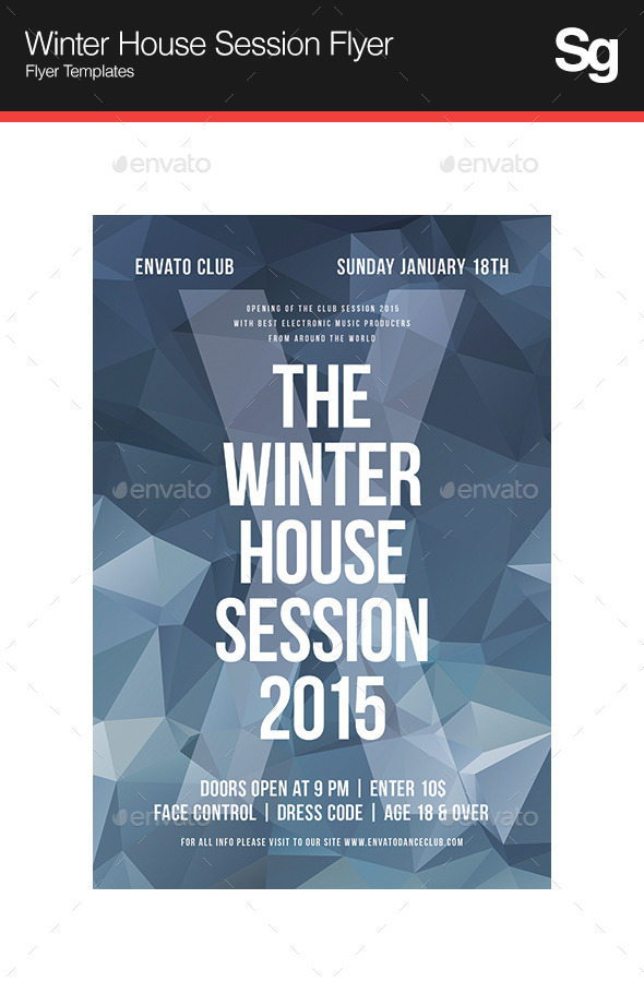 Winter House Session Flyer - Clubs & Parties Events