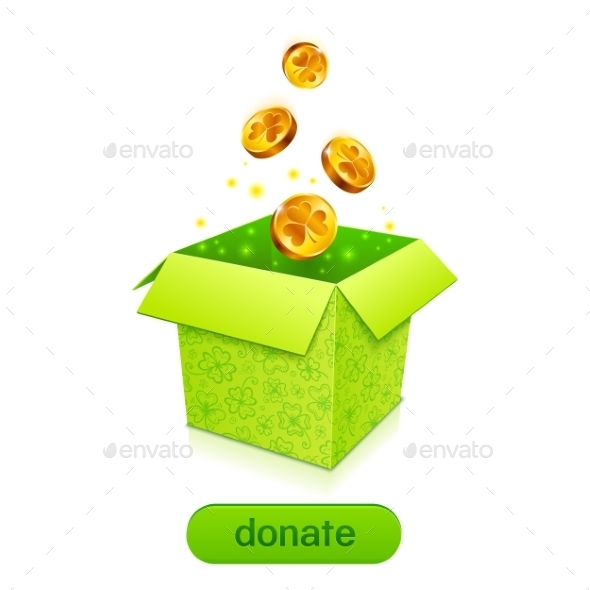 Green Donation Box with Golden Fallen Coins - Concepts Business
