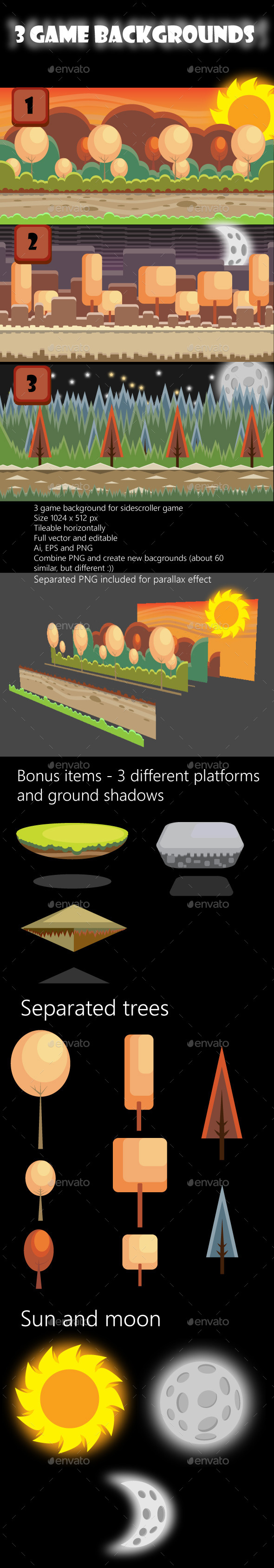 3 Game Backgrounds - Backgrounds Game Assets