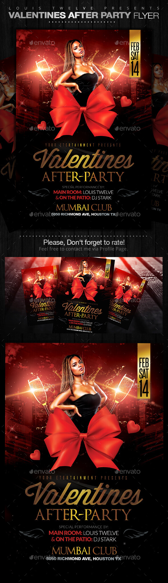 Valentines After Party Flyer Template - Clubs & Parties Events