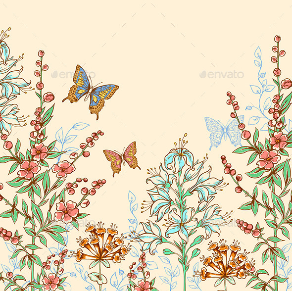 Floral Background with Butterflies - Flowers & Plants Nature