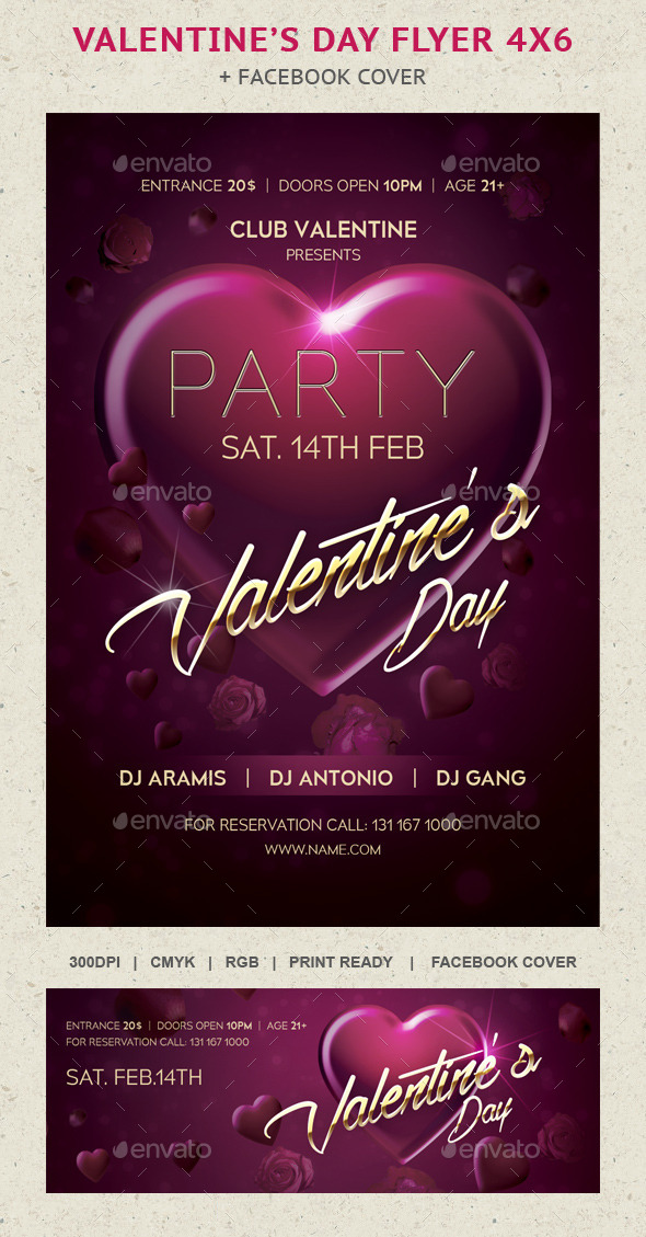 Heart Valentine's Day Flayer Party - Events Flyers