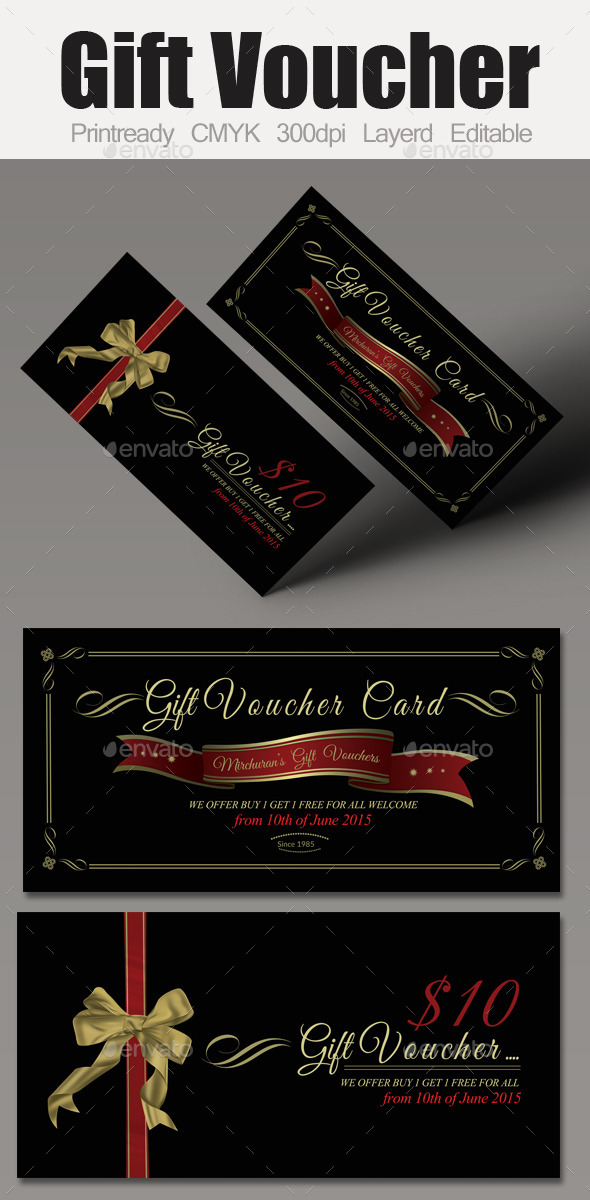 Multi Use Business Gift Voucher - Cards & Invites Print Templates