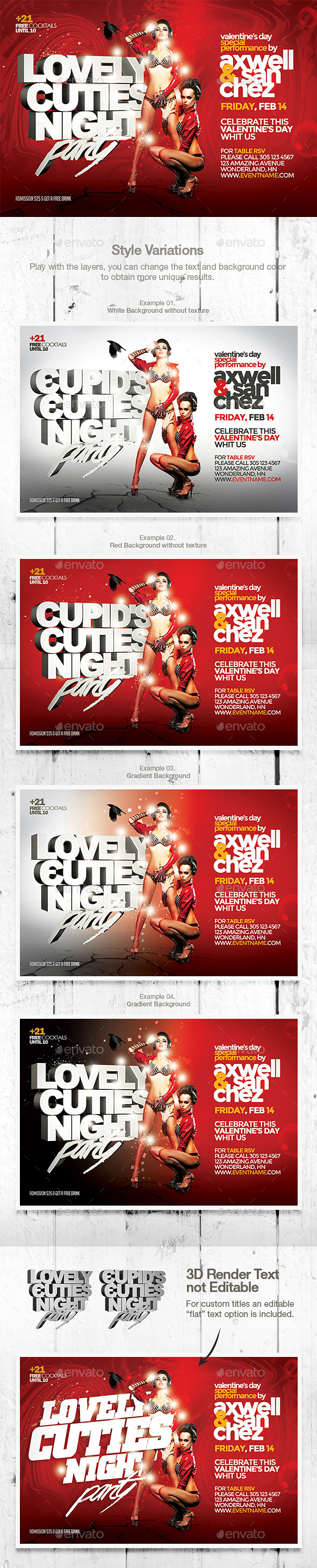 Valentine's Day Lovely Cuties Flyer Template - Events Flyers