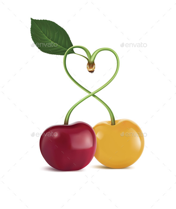 Heart Symbol Cherry - Food Objects