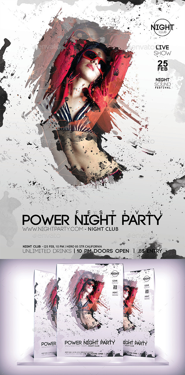 Power Night Party Flyer - Flyers Print Templates