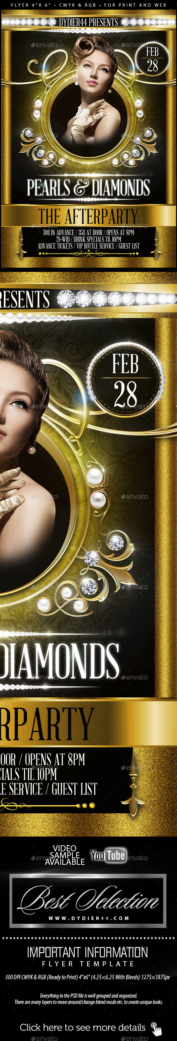 Pearls & Diamonds  (Flyer Template 4x6) - Clubs & Parties Events