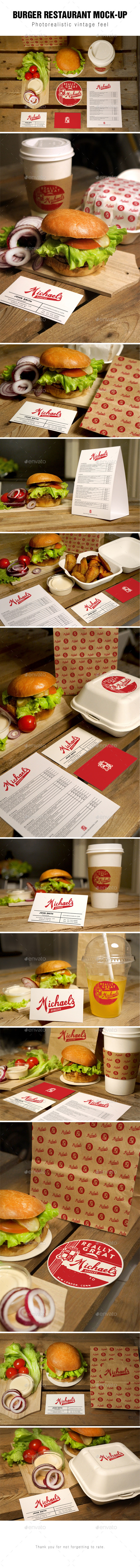 Burger Restaurant Mockup - Product Mock-Ups Graphics