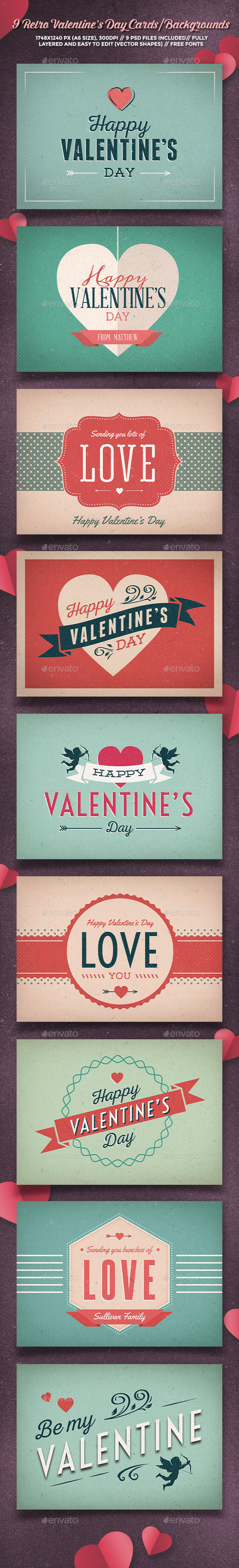 9 Retro Valentine's Day Cards/Backgrounds - Backgrounds Graphics