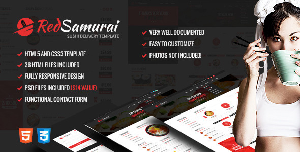 Red Samurai HTML5 and CSS3 Responsive Template - Food Retail