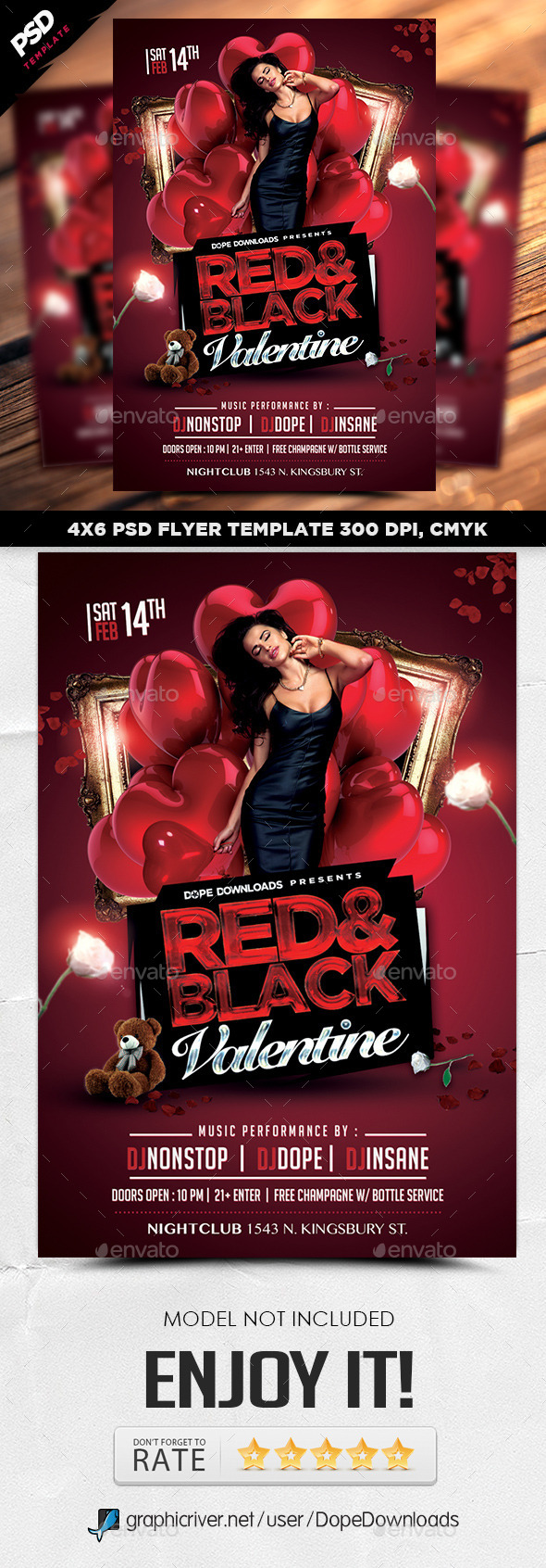 Red & Black Valentine Flyer Template - Holidays Events