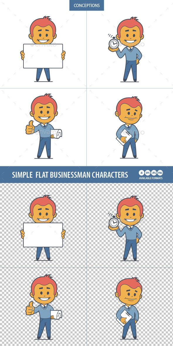 Flat Characters Businessman - People Characters