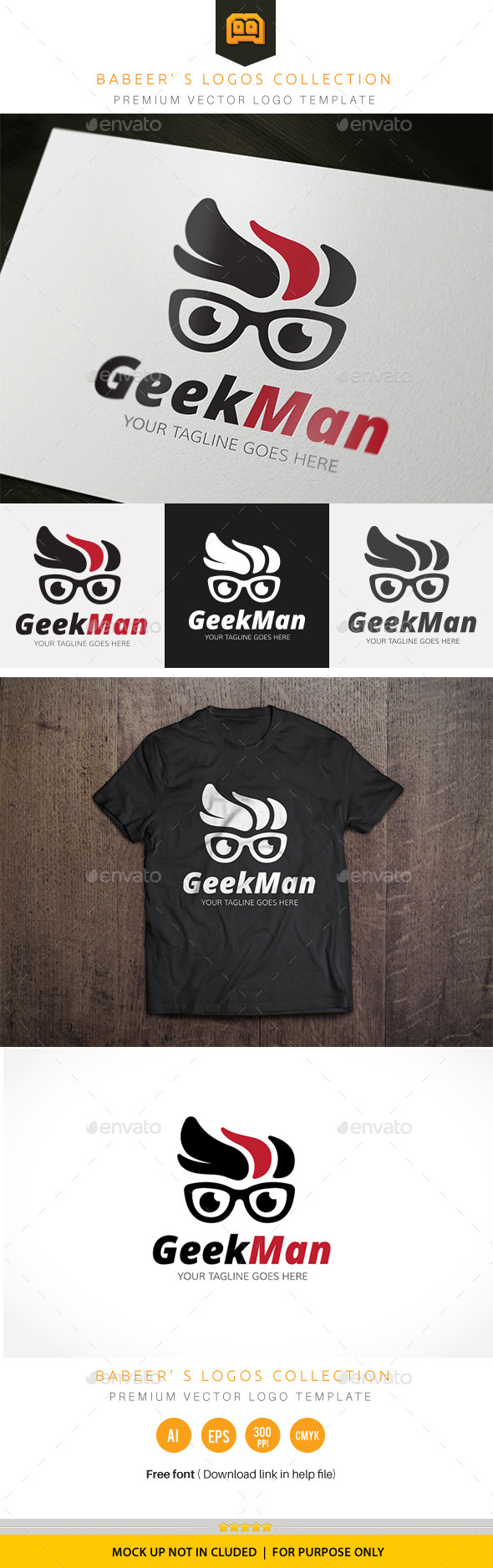 Geek Man - Humans Logo Templates