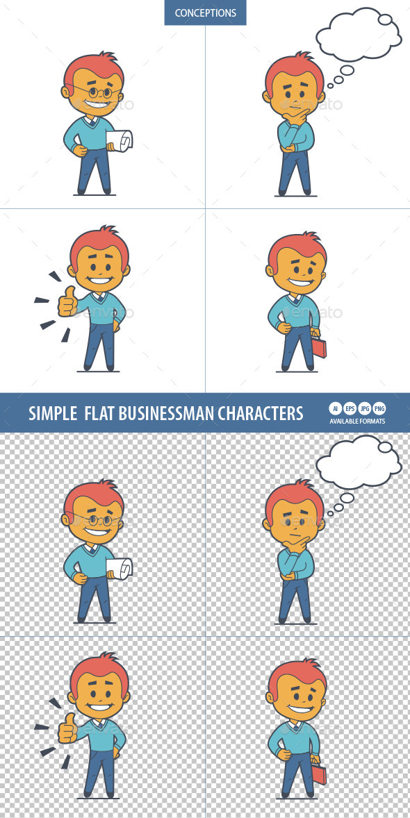Four Flat Businessman Characters  - People Characters