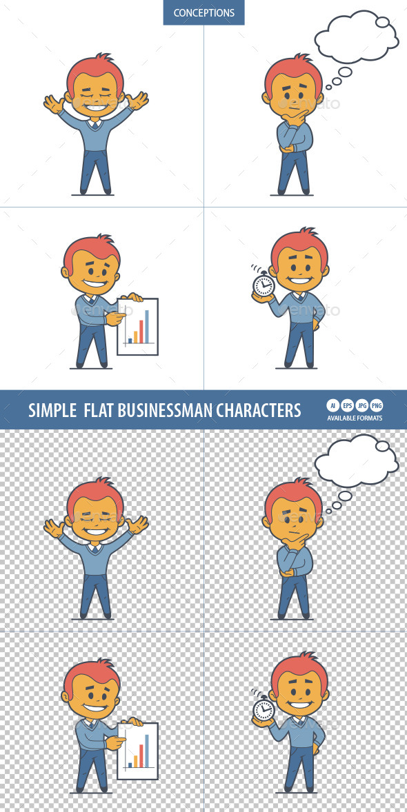 Set of Flat Businessman Characters  - People Characters