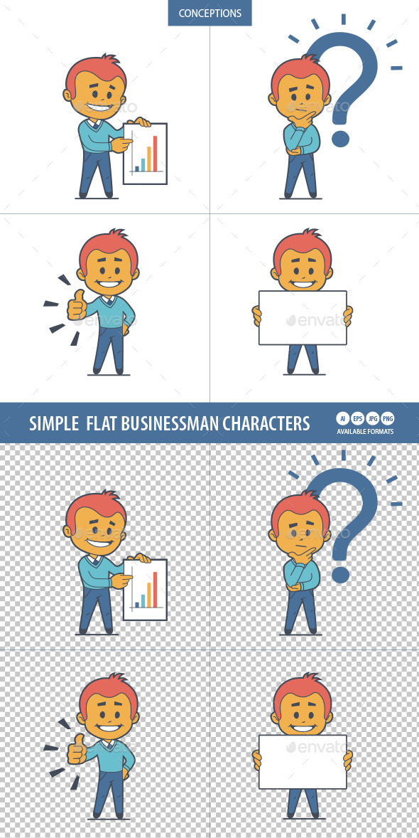 Set of Four Businessman Characters  - People Characters