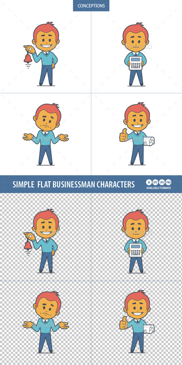 Set of Four Flat Businessman Characters  - People Characters