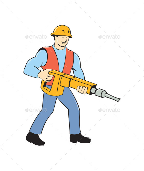 Construction Worker Holding Jackhammer Cartoon - People Characters