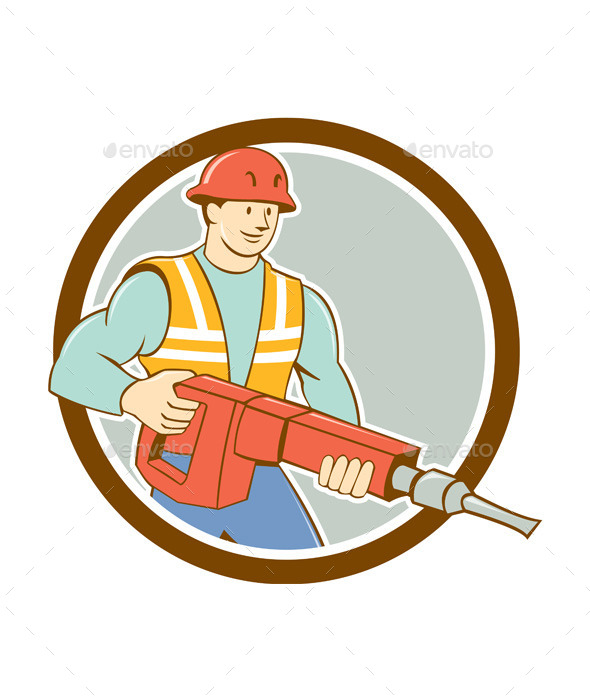 Construction Worker Jackhammer Circle Cartoon - People Characters
