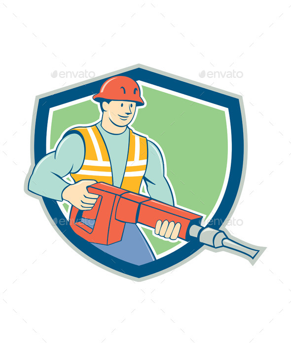 Construction Worker Jackhammer Shield Cartoon - People Characters