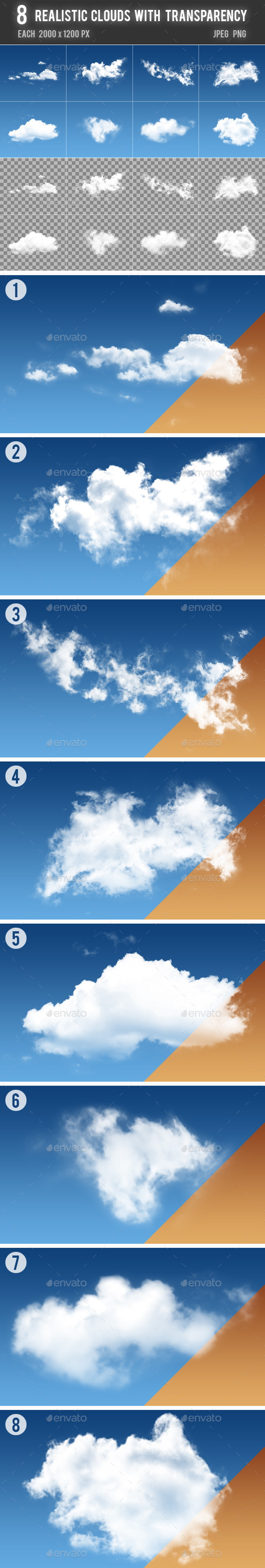 8 Realistic Clouds with Transparency - Nature Backgrounds