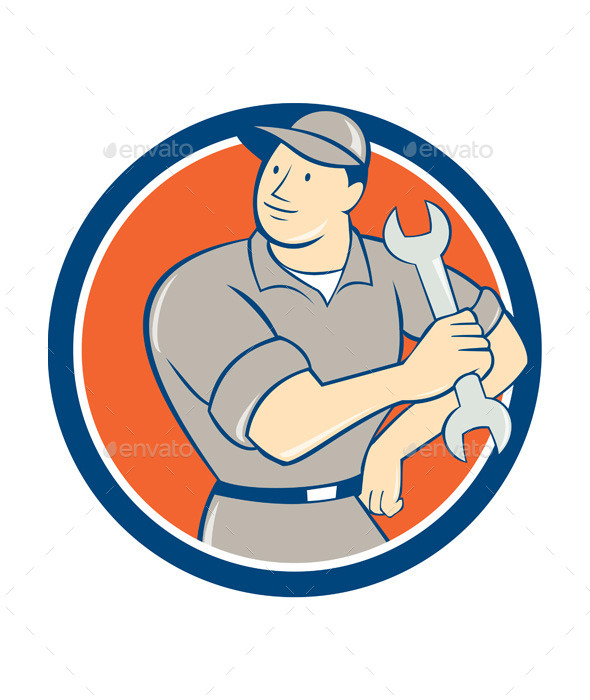 Mechanic Holding Spanner Wrench Circle Cartoon - People Characters