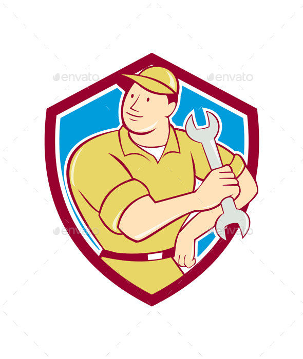 Mechanic Holding Spanner Wrench Shield Cartoon - People Characters
