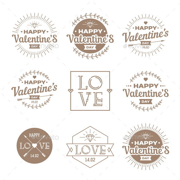 Set of Valentines Day Vintage Labels - Valentines Seasons/Holidays