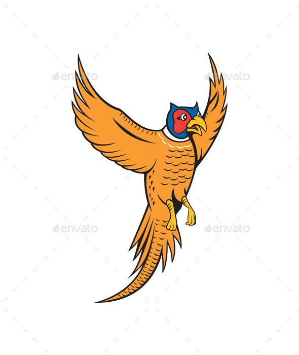 Pheasant Bird Fowl Flying Cartoon - Animals Characters