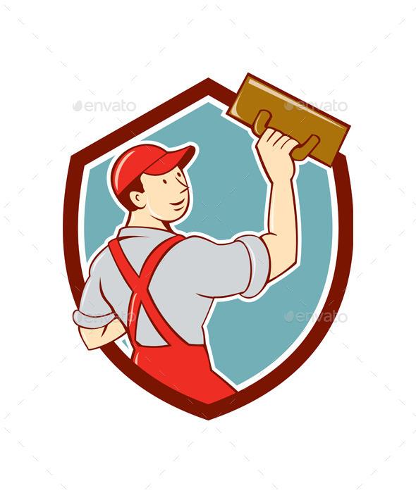 Plasterer Masonry Trowel Shield Cartoon - People Characters