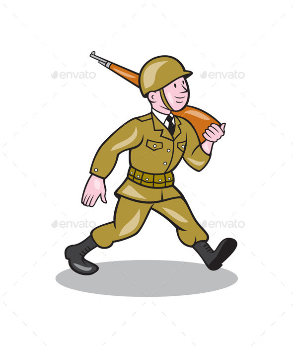 World War Two Soldier American Cartoon Isolated - People Characters