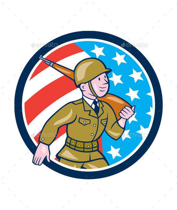 World War Two Soldier American Marching Cartoon - People Characters