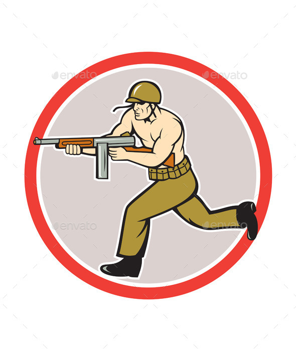 World War Two Soldier American Tommy Gun  - People Characters