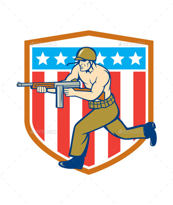 World War Two Soldier American Tommy Gun Shield - People Characters
