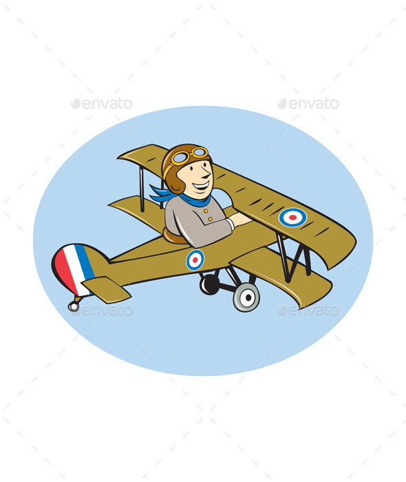 Scout Airplane Cartoon - Travel Conceptual