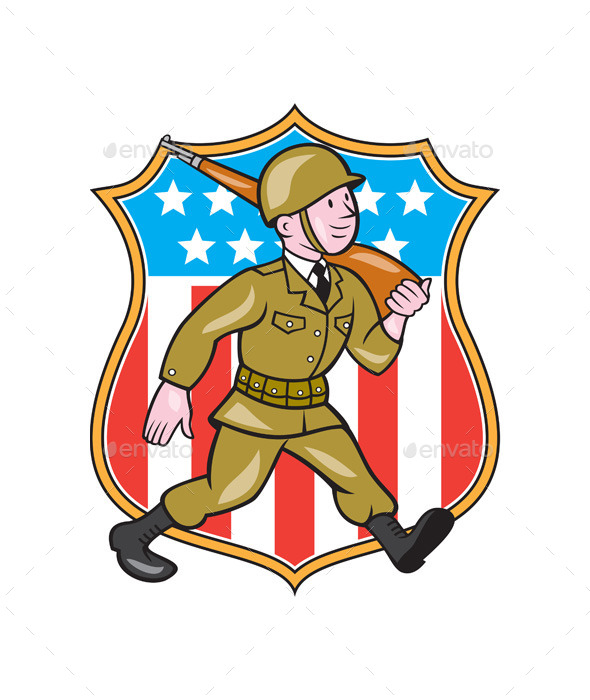 World War Two Soldier American Cartoon Shield - People Characters