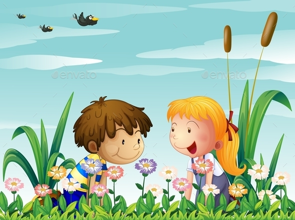 Girl and Boy Watching the Flowers - People Characters